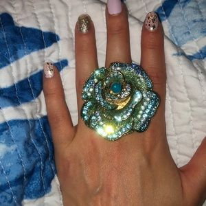 Blue and gold bling rose ring